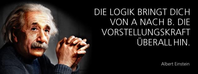 Blechschild Spruch Die Logik bringt dich von A nach B. Die Vorstellungskraft überall hin. -Einstein- Metallschild 27x10 cm Wanddeko tin sign