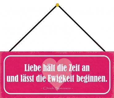Schatzmix Blechschild Spruch Liebe hält die Zeit an Metallschild 27x10 tin sign mit Kordel