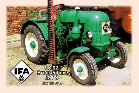 IFA RS02 Brockenhexe 22PS 1949 tracktor trekker blechschild