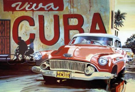 Nostalgie: Viva Cuba Oldtimer Blechschild 20x30 cm