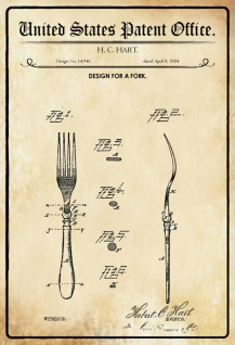 US Patent Office - Design for a Fork- Entwurf für ein Gabel - Hart, 1884 - Design No 14.946 - Blechschild