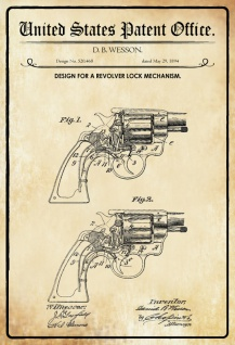 US Patent Office - Design for a Revolver Lock Mechanism - Entwurf für einen Revolver-Verriegelungsmechanismus - Wesson 1894 - Design No 520.468 - Blechschild