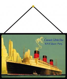 Blechschild Nostalgie RMS Queen Mary Metallschild Deko 20x30 cm mit Kordel