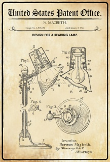 US Patent Office - Design for A Reading Lamp - Entwurf für eine Leselamp - Macbeth, 1923 - Design No 1.505.654 - Blechschild