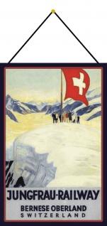 Blechschild Jungfrau Railway Schweiz Bern Oberland Metallschild 20x30 mit Kordel