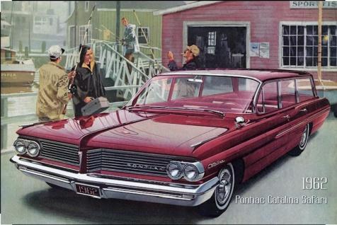 Pontiac Catalina Safari 1962 Auto reklame blechschild, us, rot