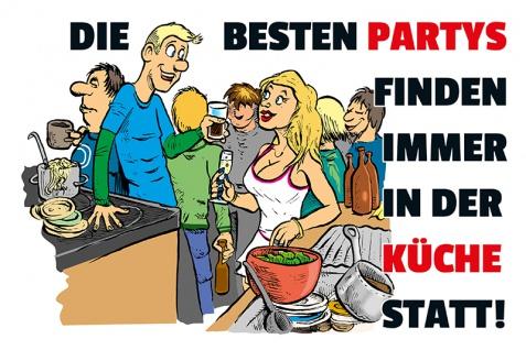 """"""" Die besten parties?"""" blechschild, lustig, comic, metallschild"""