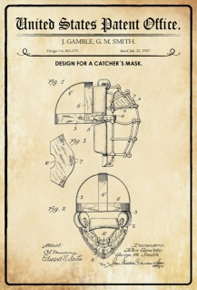 US Patent Office - Design for a Catcher's Mask - Entwurf für ein Fänger Maske - Gamble, Smith, 1907 - Design No 861.170 - Blechschild