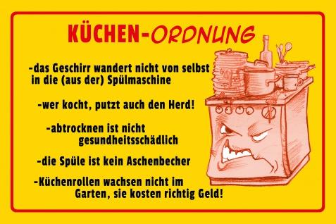 Blechschild Spruch Küchen-Ordnung Metallschild Wanddeko 20x30 cm tin sign