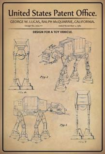 Blechschild Patent Entwurf für Star Wars Spielzeug Metallschild Wanddeko 20x30 cm tin sign