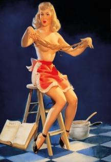 Nostalgie Pin up sexy Frau auf Leiter Blechschild 20x30 cm