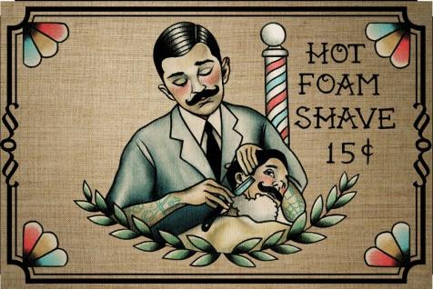 """ Hot Foam Shave 15c"" rasier, barber, friseur, blechschild, spruchschild, reklame, vintage"