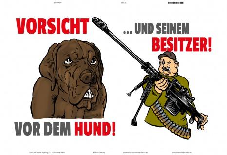 Blechschild Vorsicht vor Hund und Besitzer Metallschild Wanddeko 20x30 tin sign