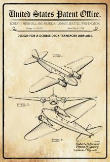 Blechschild Patent Entwurf Doppeldecktransportflugzeug Metallschild Wanddeko 20x30 cm tin sign