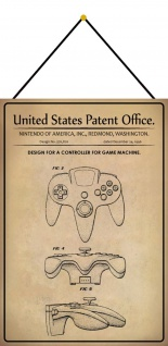 Blechschild Patent Entwurf Spielconsole- Kontroller Deko 20 x 30 m.Kordel