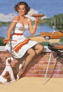 Nostalgie Pin up sexy Frau mit Hund am Grill Blechschild 2x30 cm