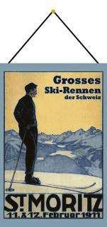 Blechschild St Moritz großes Skirennen Schweiz 1911 Metallschild 20x30 m.Kordel