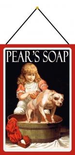 Blechschild Nostalgie Reklame Pears Soap Mädchen & Hund Deko 20x30 mit Kordel