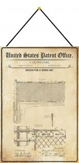 Blechschild Patent Entwurf für ein Tennis Netz Metallschild 20 x 30 m.Kordel