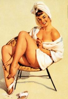 Nostalgie Pin up sexy Frau am Fußnägel lackieren Blechschild