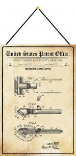 Blechschild Patent Entwurf für einen Haarschneider Metallschild 20 x 30 m.Kordel