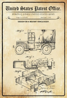 US Patent Office - Design for a Military Vehicle Body- Entwurf für eine Militärfahrzeug Karosserie - Jones US Army, 1942 - Design No 2.278.450 - Blechschild