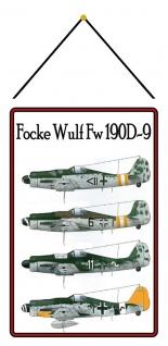 Blechschild Flugzeug Focke Wilf 190D9 Luftwaffe Metallschild 20x30 mit Kordel