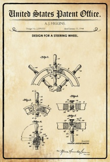 US Patent Office - Design for A Steering Wheel - Entwurf für ein Lenkrad - Higgins 1944 - Design No 2.339013 - Blechschild