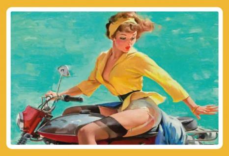 Nostalgie: Pin Up sexy Frau auf Motorrad Blechschild 20x30 cm