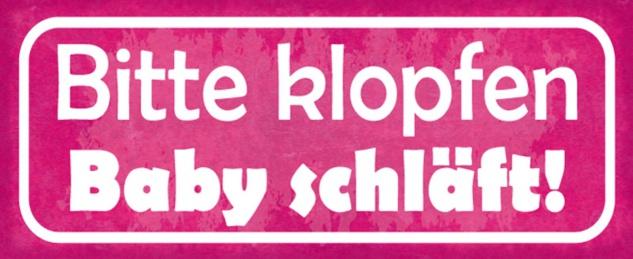 Blechschild Spruch Bitte klopfen Baby schläft Metallschild 27x10 cm Wanddeko tin sign