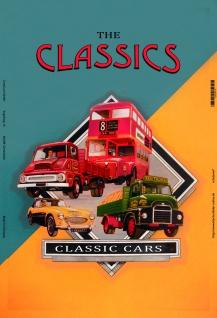 Classic Cars, oldtimer autos, bus, blechschild - Vorschau
