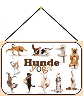 Blechschild Hunde Yoga 1 Metallschild Deko 20x30 cm tin sign mit Kordel
