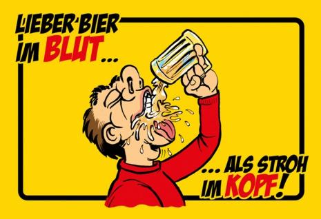 """"""" Lieber Bier In Blut Als Stroh Im Kopf"""" - lustig, blechschild, comic, spruchschild, metallschild, dekoschild, lustig"""