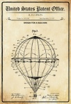 US Patent Office - Design for a Balloon - Entwurf für einen Ballon - Upson 1925 - Design No 1.553.240 - Blechschild