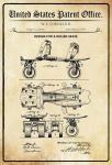 US Patent Office - Design for a Roller Skate - Entwurf für einen roller Skate - Cornelius - 1879 - Design No 213546 - Blechschild