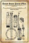 US Patent Office - Design for a banjo - Entwurf für einen banjo - Bradbury - 1882 - Design No 262564 - Blechschild
