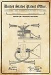 US Patent Office - Design for a Speaking Telephone - Entwurf für ein Telefon - Bell, Washington DC, 1881 - Design No 250.704 - Blechschild