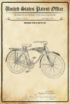US Patent Office - Design for A Bicycle - Entwurf für Fahrrad - Schwinn, Illinois 1939 - Design No 115.942 - Blechschild