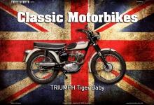 Triumph Tiger Baby Uk Classic Motorrad Blechschild