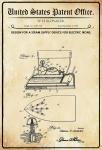 US Patent Office - Design for A Steam Supply Device for Electric Irons - Entwurf für ein Dampfzufuhrgerät für Bügeleisen - Slonaker, 1928 - Design No 1.683.145 - Blechschild