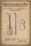 US Patent Office - Design for a Bass Guitar - Entwurf für einen Bassgitarre - Fender - 1960 - Design No 187001 - Blechschild