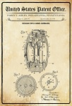 US Patent Office - Design for a Hand Grenade - Entwurf für eine Hand Granate - Asbury, Pennsylvania, 1918 - Design No 1.288.797 - Blechschild