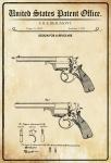 US Patent Office - Design for A Revolver - Entwurf für einen Revolver - Beaumont, 1858 - Design No 15.032 - Blechschild
