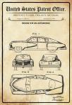 US Patent Office - Design for An Automobile - Entwurf für ein Kraftfahrzeug - Tucker, Michigan, 1949 - Design No 154.192 - Blechschild