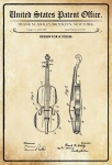 US Patent Office - Design for a Violin - Entwurf für einen Violin - Ashley - 1921 - Design No 1.367580 - Blechschild