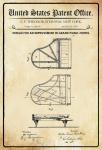US Patent Office - Design for an Improvement in Pianofortes - Entwurf für eine verbesserung des Klavier - Steinway - 1878 - Design No 204106 - Blechschild