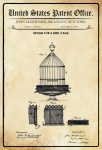 US Patent Office - Design for a Birdcage - Entwurf für ein Vogelkäfig - Maxheimer, 1876 - Design No 180.432 - Blechschild