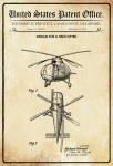 US Patent Office - Design for a Helicopter - Entwurf für ein Hubschrauber - Richard Prewitt, Delaware 1946 - Design No 144.986 - Blechschild