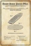 US Patent Office - Design for a Surfboard - Entwurf für einen Surfbrett - Herron - 1958 - Design No 183016 - Blechschild
