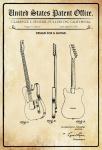 US Patent Office - Design for a Guitar - Entwurf für einen Gitarre - Fender - 1951 - Design No 164227 - Blechschild
